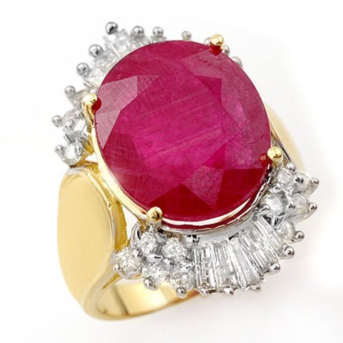 Natural 15.75 ctw Ruby & Diamond Ring 14K Yellow Gold -