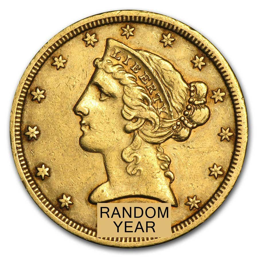 Circulated $5 Liberty Gold Half Eagle (Random Years)
