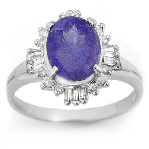 Natural 3.03 ctw Tanzanite & Diamond Ring 18K White