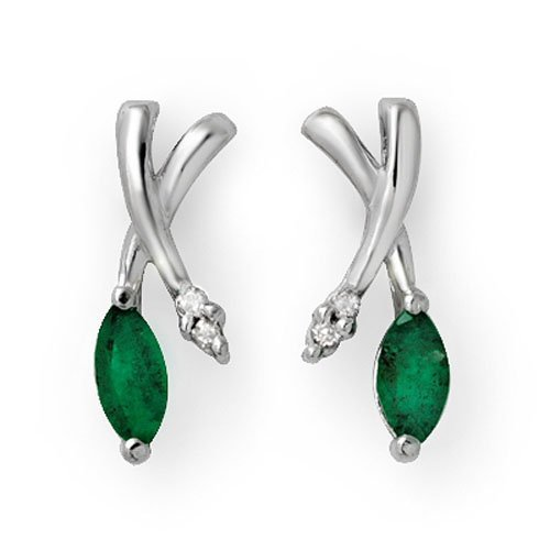 Natural 0.50 ctw Emerald & Diamond Earrings 18K White