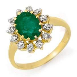 Natural 1.46 ctw Emerald & Diamond Ring 10K Yellow Gold