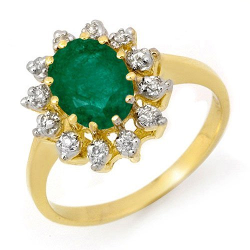 Natural 1.46 ctw Emerald & Diamond Ring 10K Yellow Gold