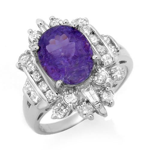 Natural 5.0 ctw Tanzanite & Diamond Ring 18K White Gold