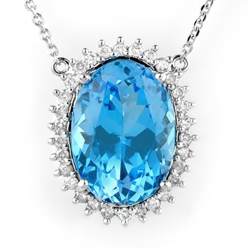 Natural 19.0 ctw Blue Topaz & Diamond Necklace 14K