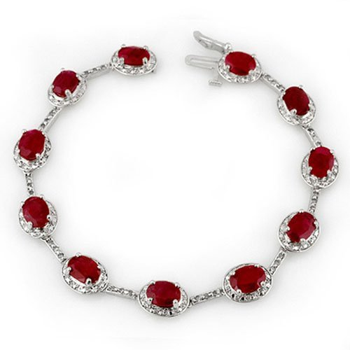 Natural 12.40 ctw Ruby & Diamond Bracelet 10K White