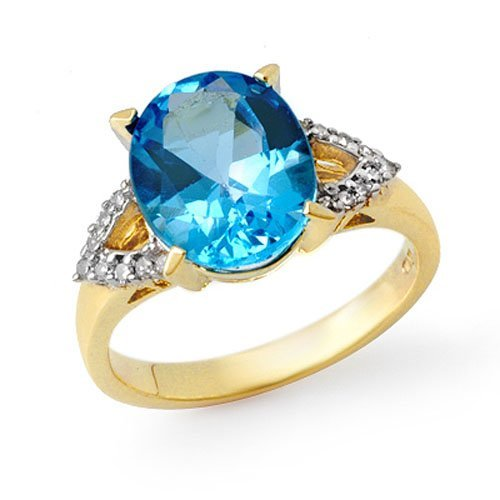 Genuine 5.30 ctw Blue Topaz & Diamond Ring 10K Yellow