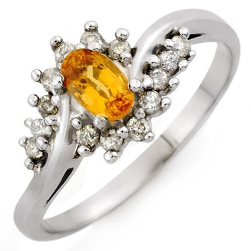 Natural 0.55 ctw Yellow Sapphire & Diamond Ring 10K