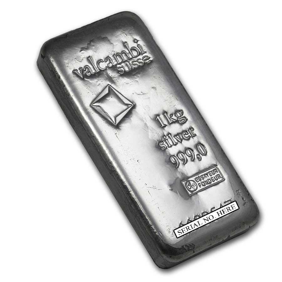 Fine Silver Bar - 1 kilo - Valcambi (Poured, w/Assay)