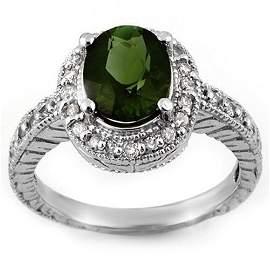 Natural 3.40 ctw Green Tourmaline & Diamond Ring 14K
