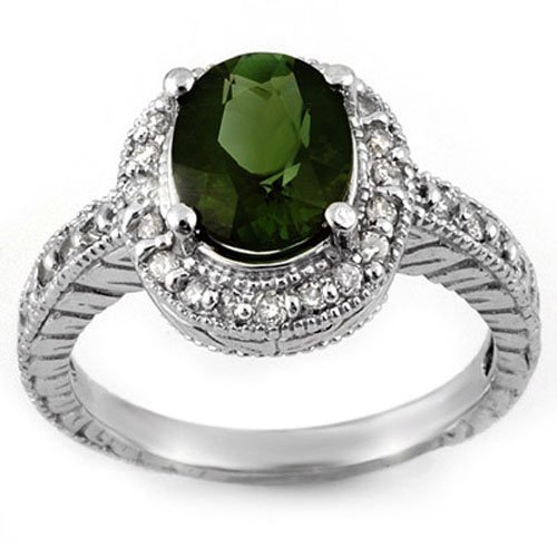 Natural 3.40 ctw Green Tourmaline & Diamond Ring 14K