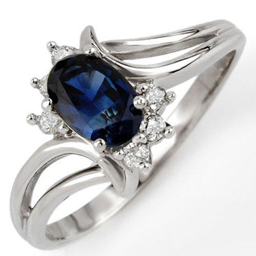 Genuine 0.70 ctw Blue Sapphire & Diamond Ring 10K White
