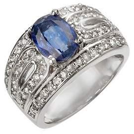 Genuine 3.54 ctw Kaynite & Diamond Ring 14K White Gold