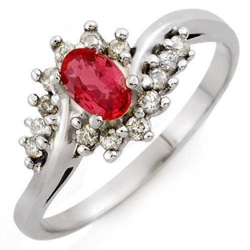 Natural 0.55 ctw Red Sapphire & Diamond Ring 18K White