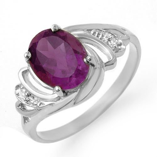Genuine 1.48 ctw Amethyst & Diamond Ring 18K White Gold