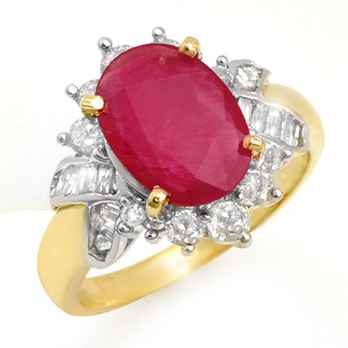 Natural 4.42 ctw Ruby & Diamond Ring 14K Yellow Gold -