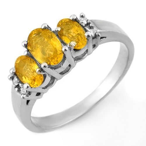 Genuine 1.39 ctw Yellow Sapphire & Diamond Ring 14K