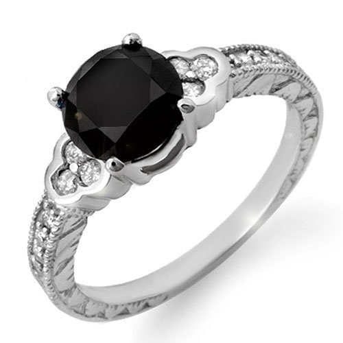 Genuine 2.52 ctw Black & White Diamond Bridal Ring 18K