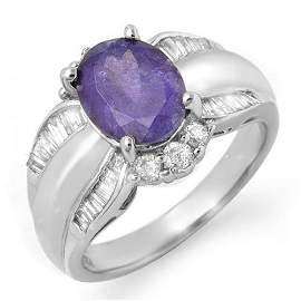 Genuine 3.52 ctw Tanzanite & Diamond Ring 18K White