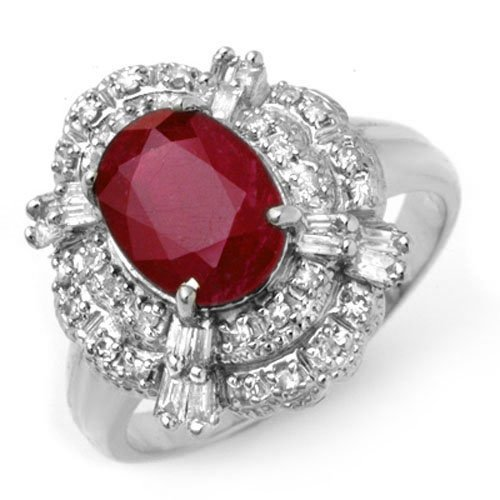 Natural 2.84 ctw Ruby & Diamond Ring 18K White Gold -