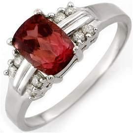 Genuine 1.41 ctw Pink Tourmaline & Diamond Ring 10K