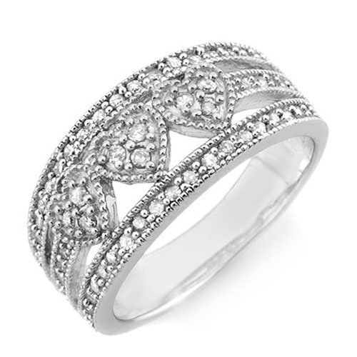 Natural 0.50 ctw Diamond Ring 14K White Gold -