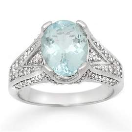 Genuine 3.95 ctw Aquamarine & Diamond Ring 14K White