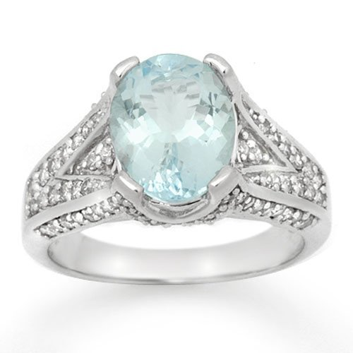 Genuine 3.95 ctw Aquamarine & Diamond Ring 14K White