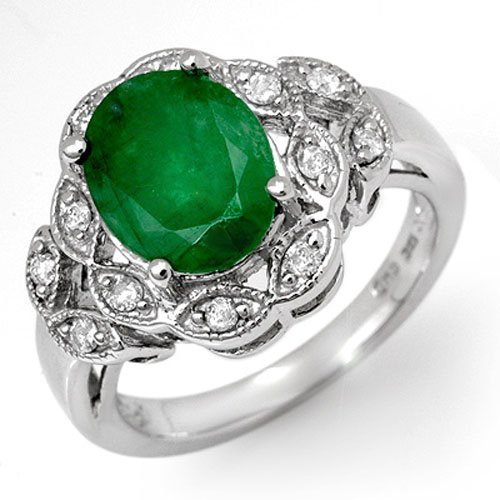 Genuine 2.75 ctw Emerald & Diamond Ring 18K White Gold