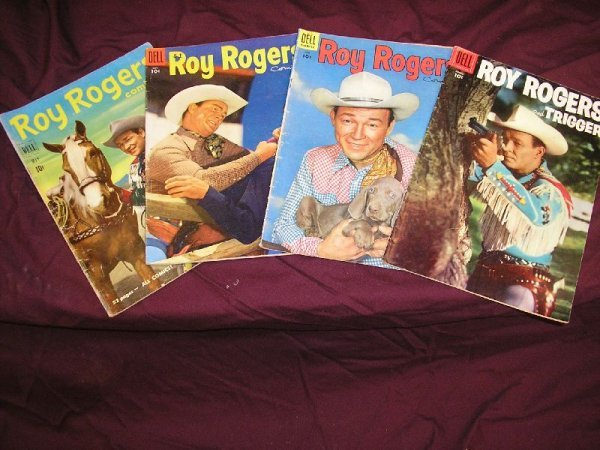 """1B: DELL  """"ROY ROGERS"""" COMICS-LOT OF 4 ISSUES-MAY 1951,"""