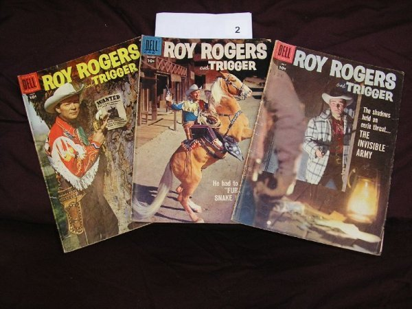 """2B: DELL  """"ROY ROGERS AND TRIGGER"""" COMICS-LOT OF 3 ISSU"""