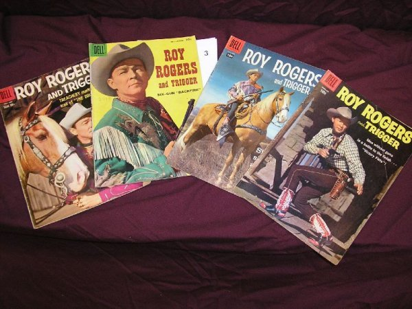 """3B: DELL """"ROY ROGER AND TRIGGER"""" COMIC BOOKS-LOT OF 4 I"""