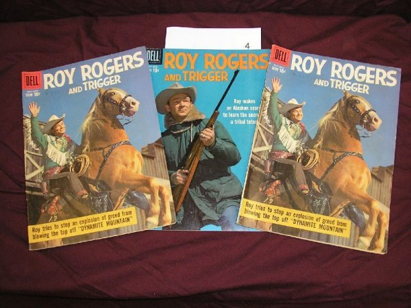"""4B: DELL """"ROY ROGER AND TRIGGER"""" COMIC BOOKS-3 ISSUES-2"""