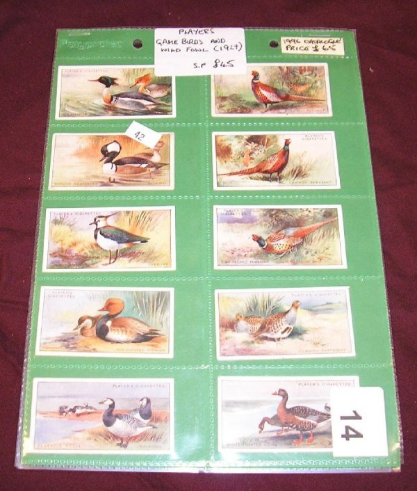"""14B: TOBACCO CARDS-PLAYERS CIGARETTES """"GAME BIRDS & WIL"""