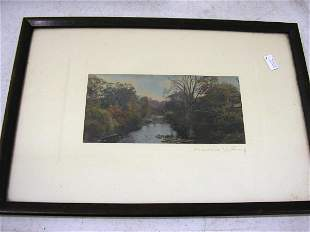 WALLACE NUTTING PRINT UNTITLED - RIVER SCENE
