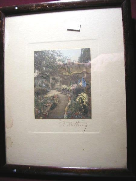 12: WALLACE NUTTING PRINT UNTITLED-COTTAGE & FLOWER GAR
