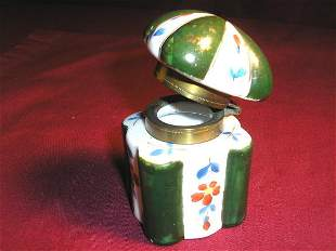 VICTORIAN PORCELAIN INKWELL, floral decoration