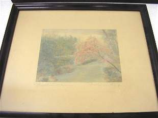 """WALLACE NUTTING PRINT """"THISSAHICKON BLOSSOMS"""""""