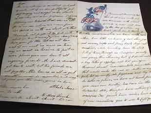 1861 CIVIL WAR LETTER ON UNION STATIONERY, ILLINOIS