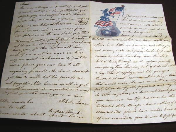 23: 1861 CIVIL WAR LETTER ON UNION STATIONERY, ILLINOIS