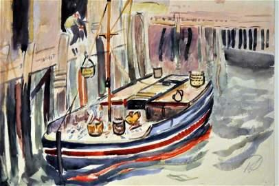 Hayley Lever watercolor Nantucket signed