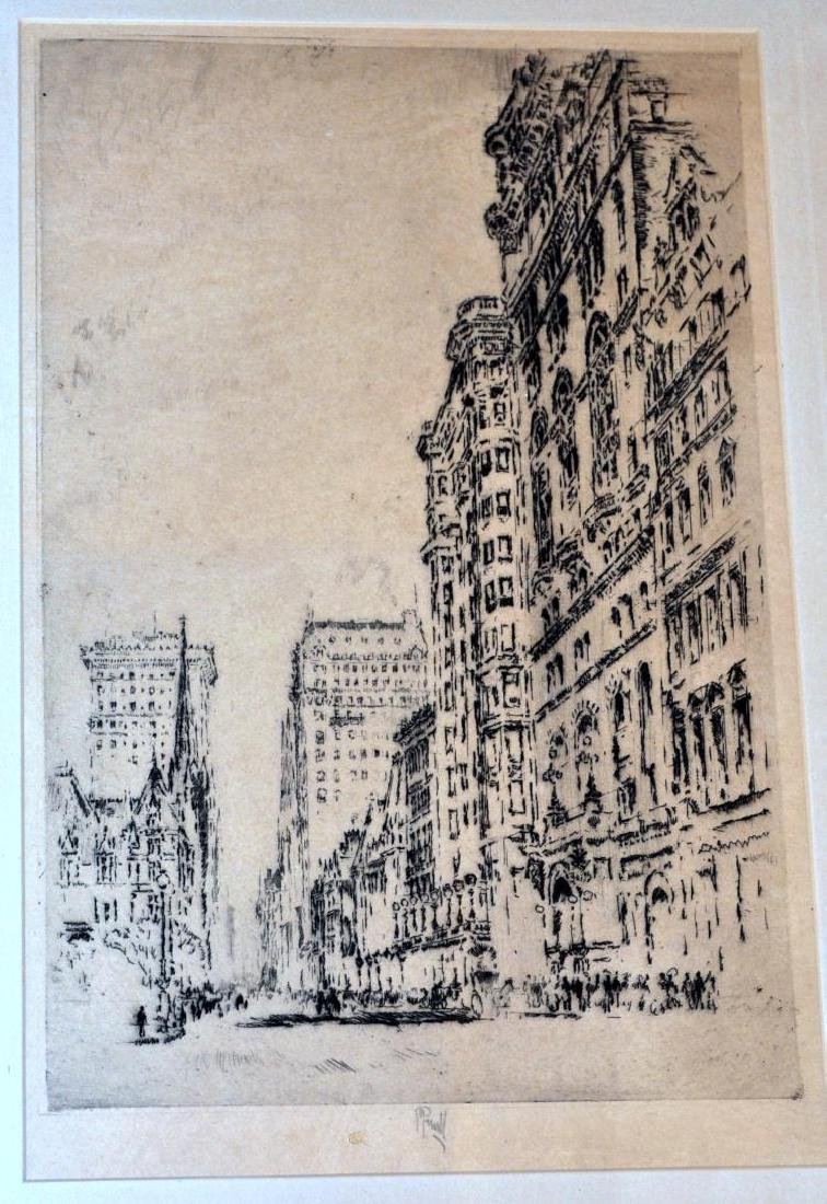 Joseph Pennell NYC etching  signed