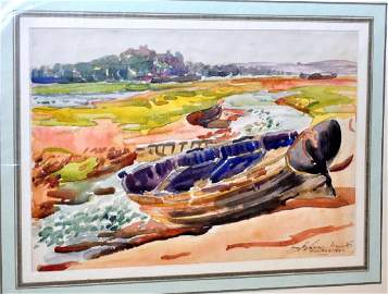 Hayley Lever signed watercolor nautical boats