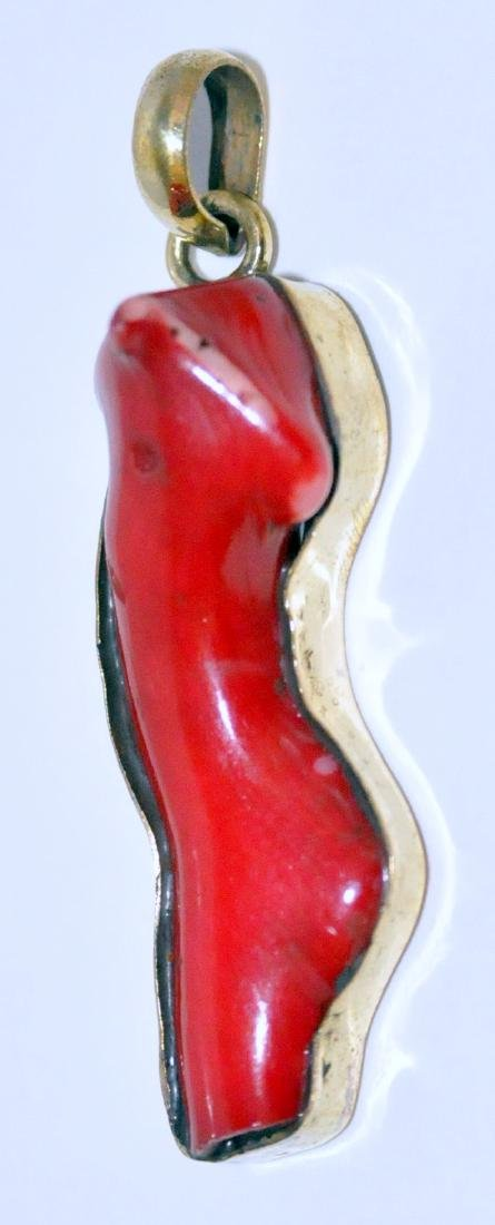 Red coral sterling pendant