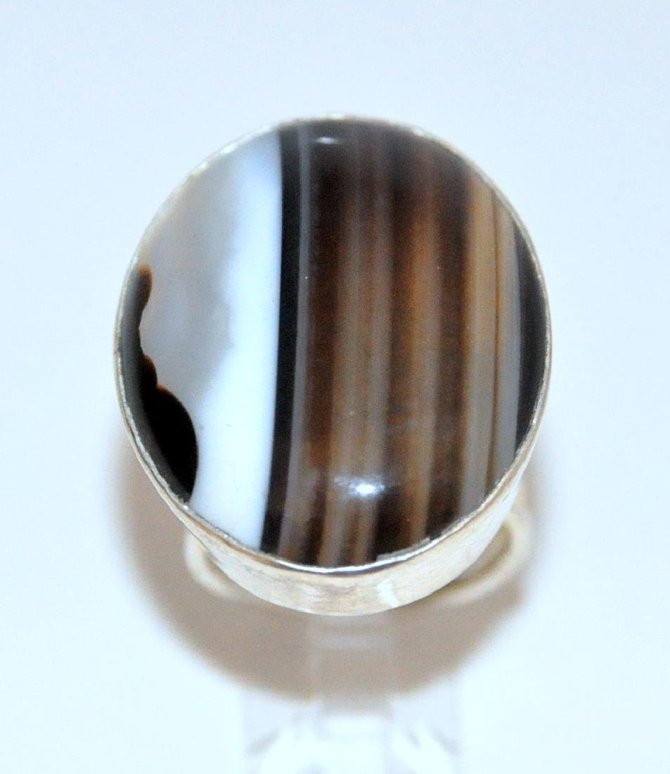Sterling banded agate ring