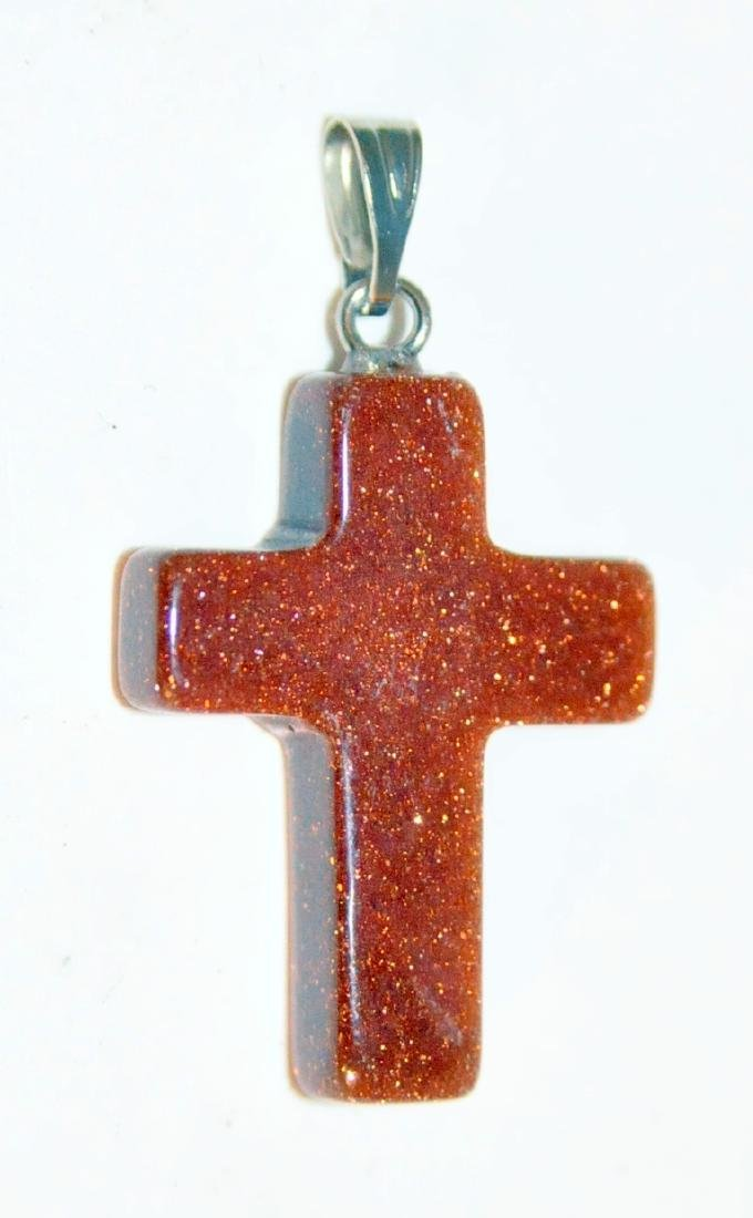 Cross pendant gold stone
