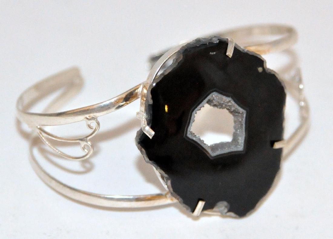 Agate sterling druzy bracelet