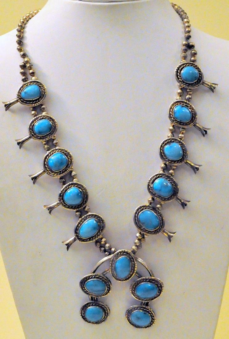 Squash blossom turquoise sterling necklace vintage