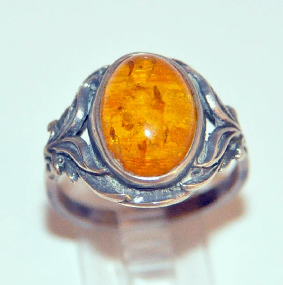 Sterling amber ring cabochon