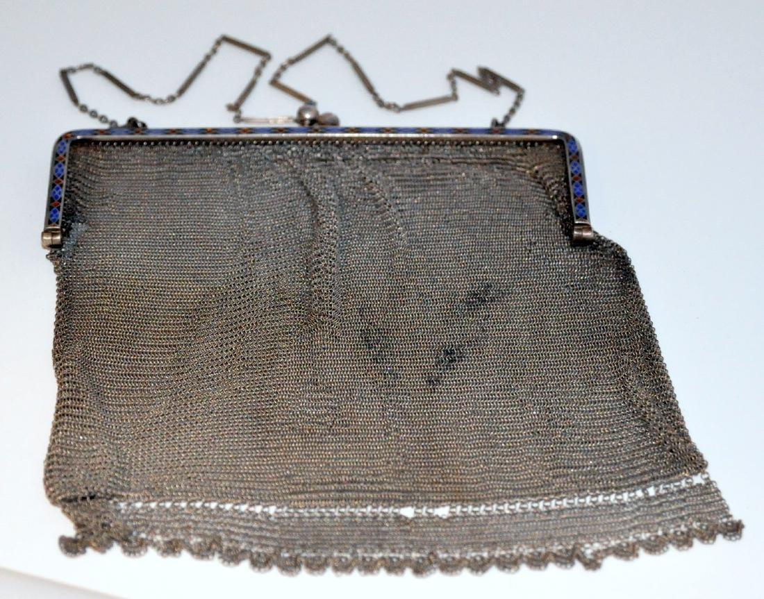 Sterling antique mesh enamelled bag