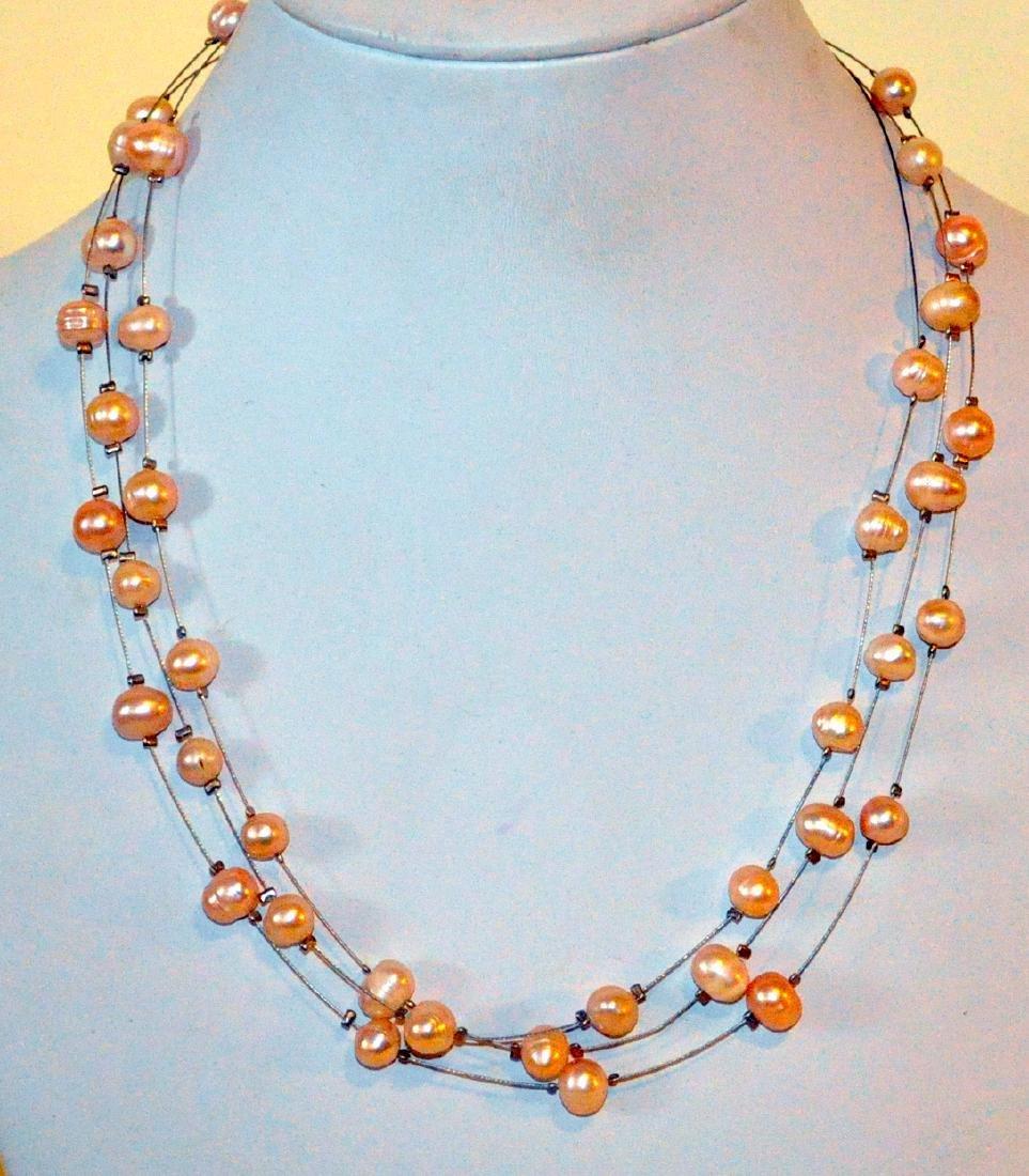 Triple pearl strand illusion necklace